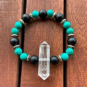 Genuine crystal quartz turquoise & onyx bracelet